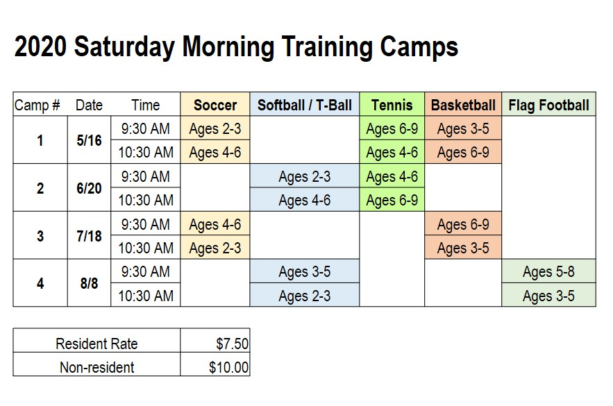 Training Camp Schedule