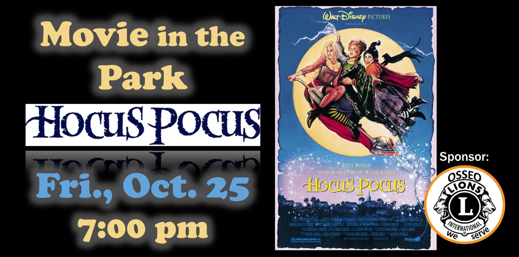 Movie in the Park Oct 25 Hocus Pocus